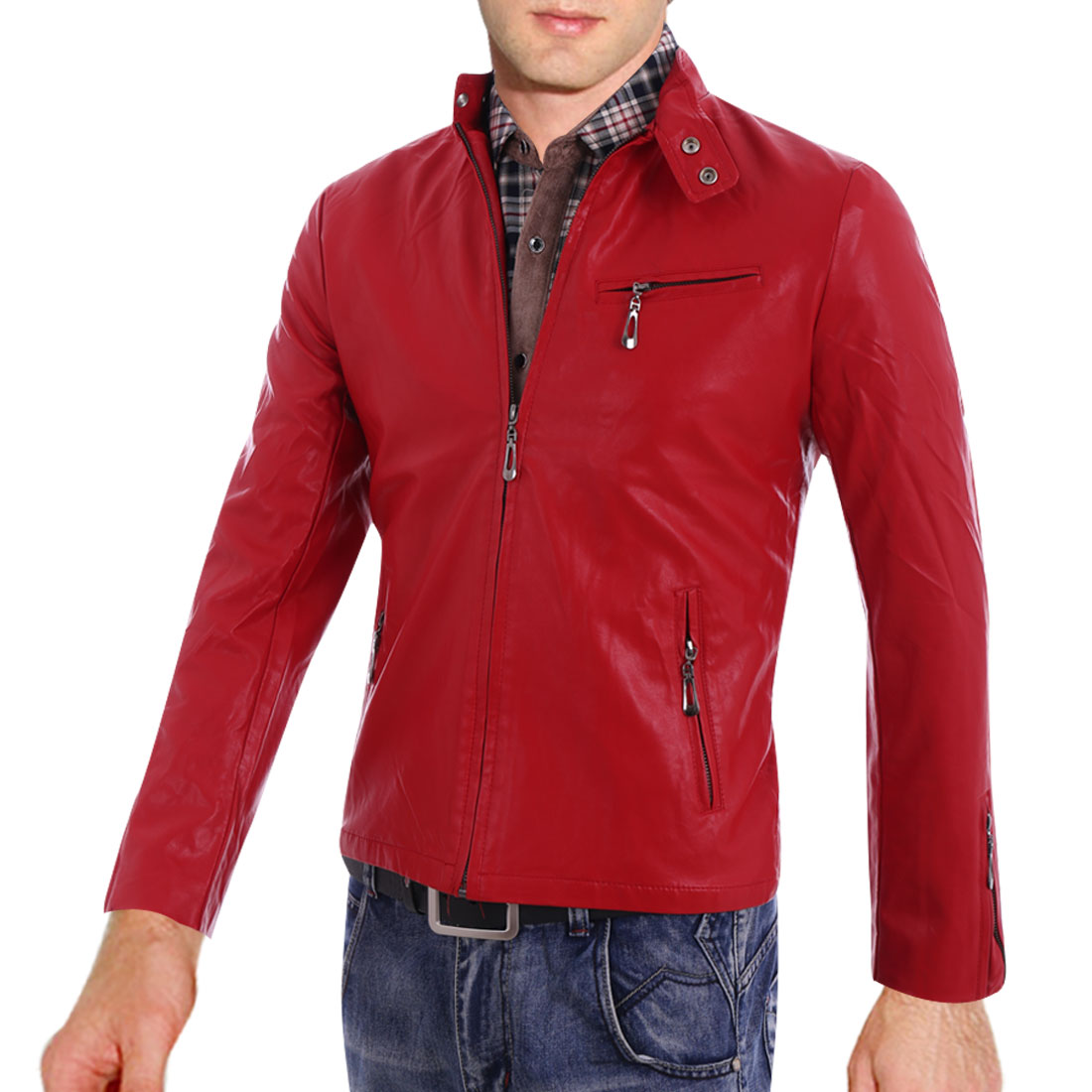 Man Stylish Zip-Up Front 3 Pockets Design Red Faux Leather Jacket S