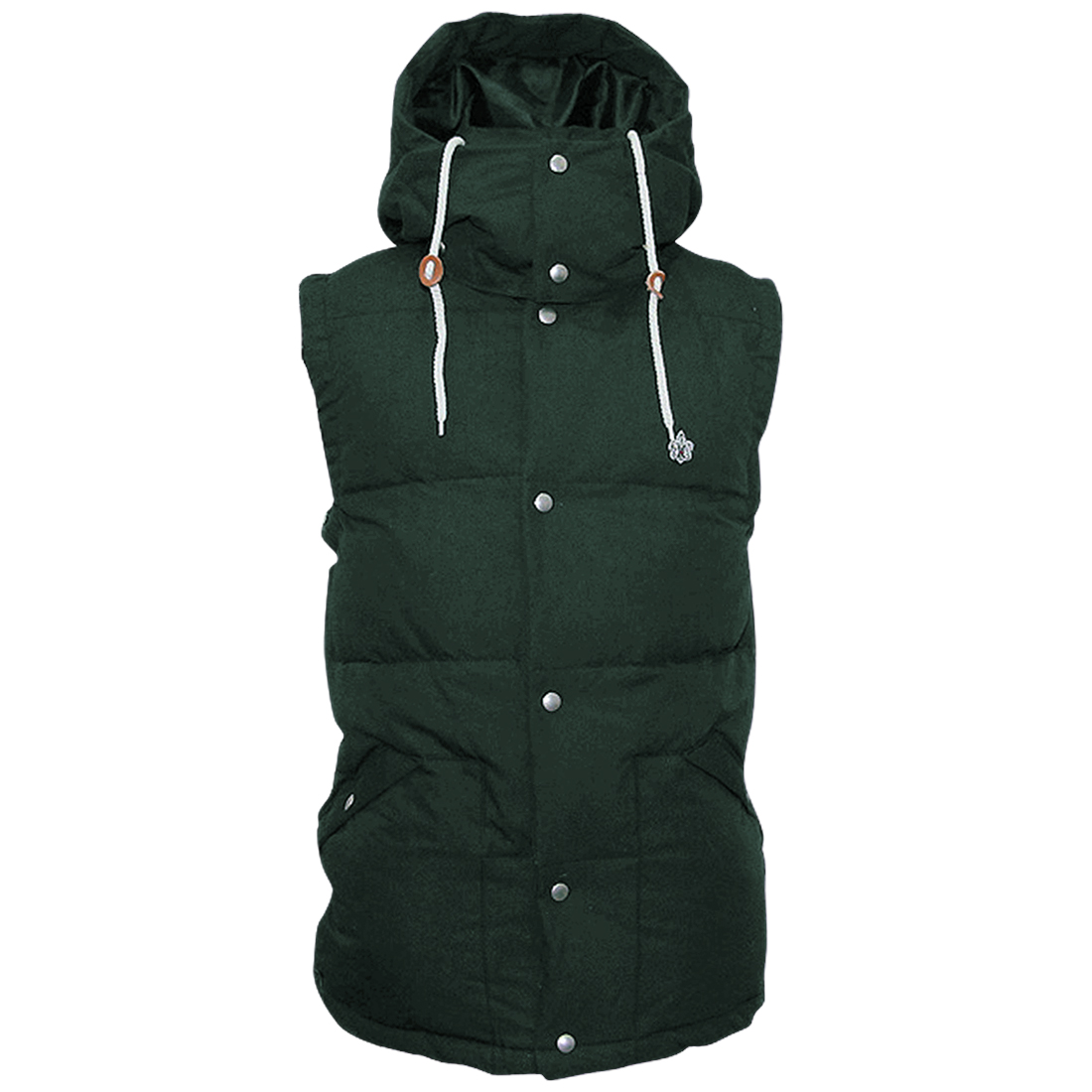 Mens Chic Stand Collar Concealed Zip-Up Front Dark Green Padded Vest Coat M