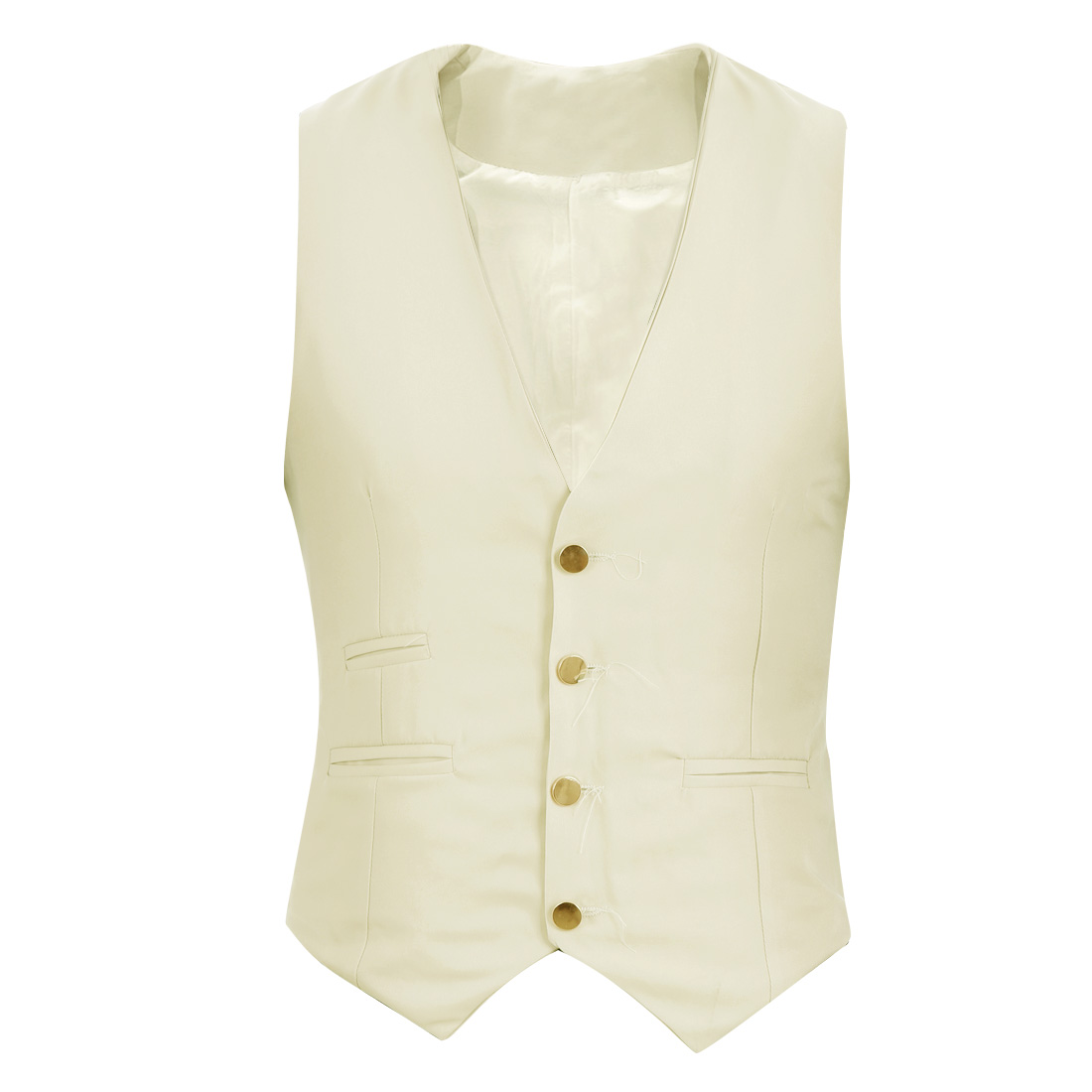 Mens Deep V Neck Button Front Slash Pockets Design Beige Vest Coat S