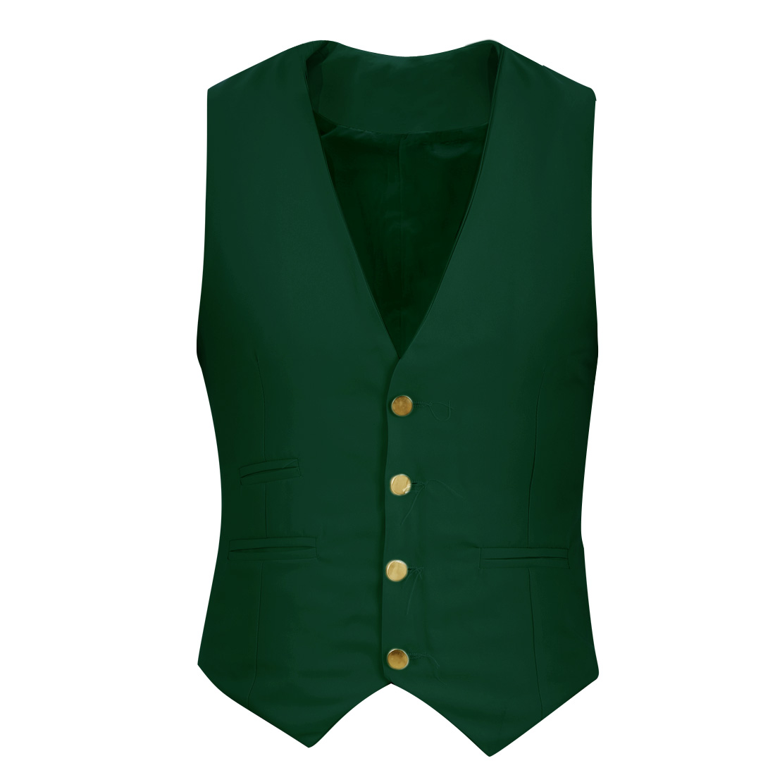 Man Chic Buckle Strap Back Detail Dark Green Spring Casual Vest Coat S
