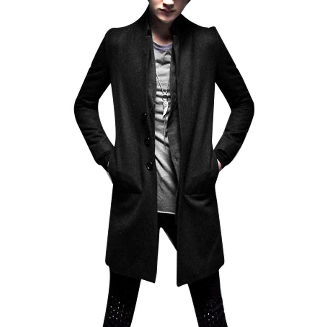 Men M Black Long Sleeve Design Slim Fit Notched Lapel Solid Color Jacket