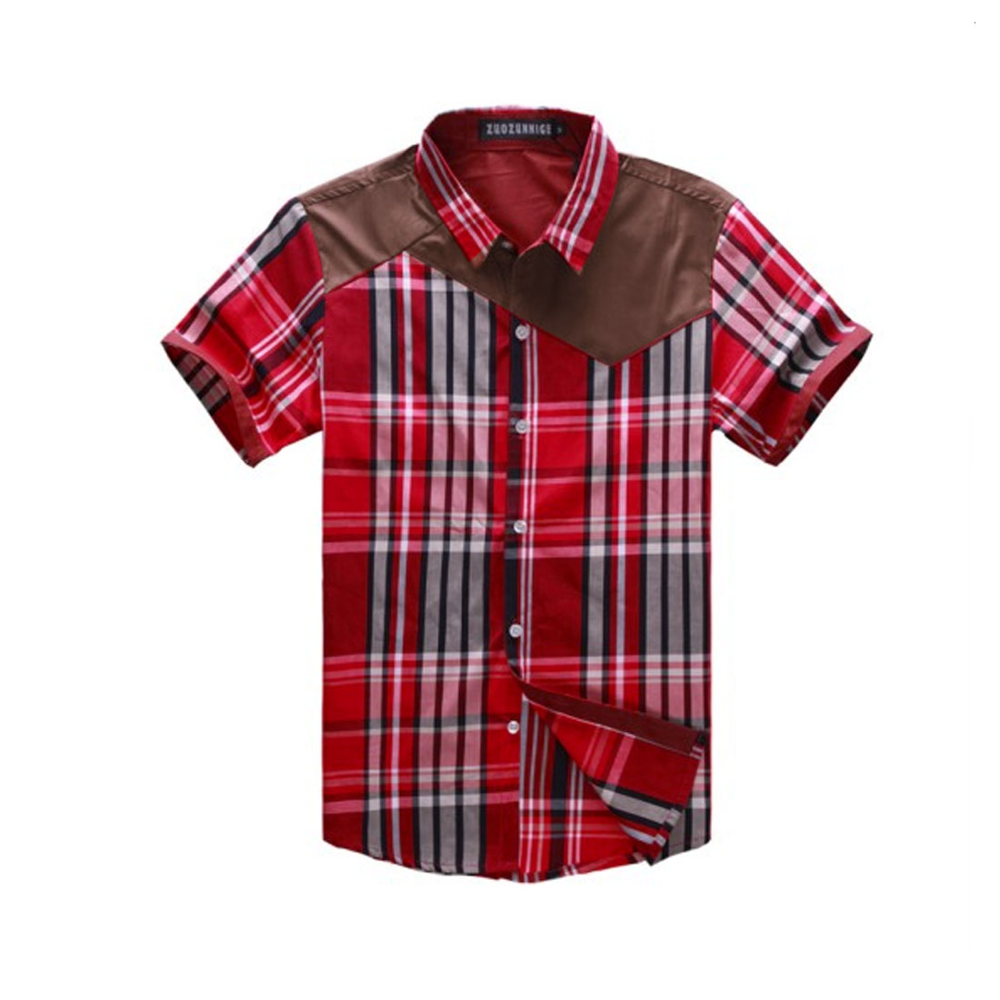 Men M Red Skinny Fit Short Sleeve Single Breasted Style Casual Shirt