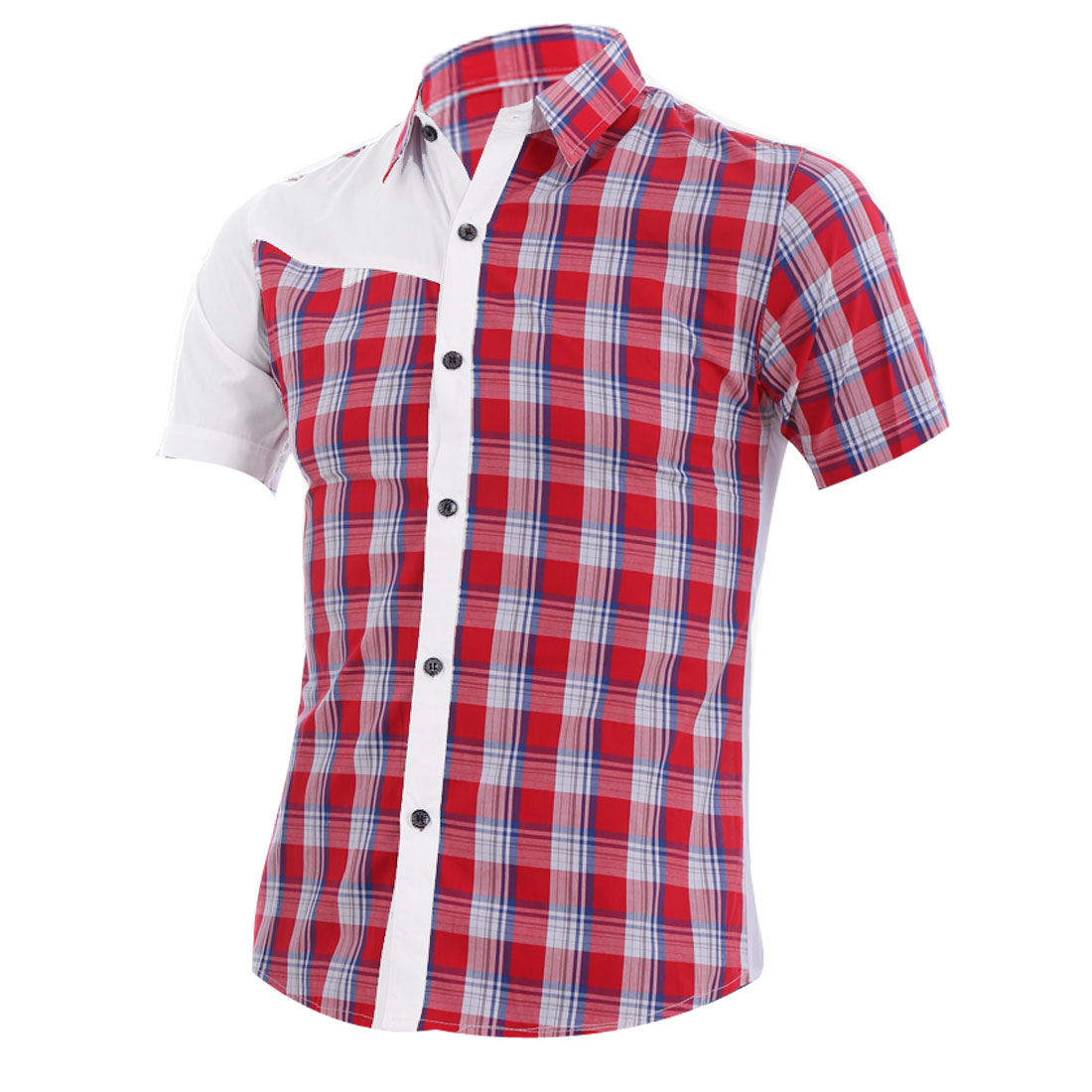 Men S Red Point Collar Button Front Short Sleeve Design Casual Shirt