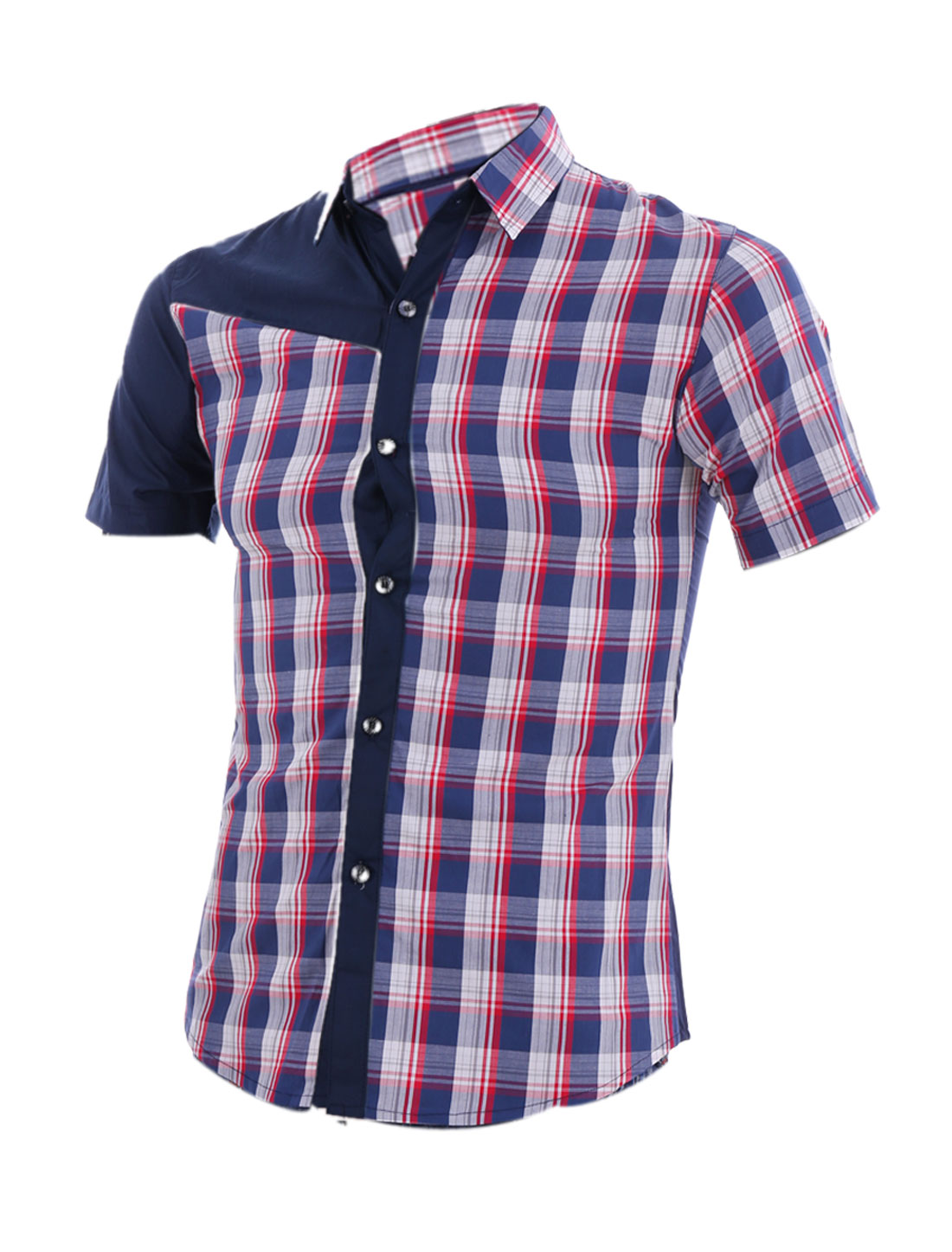 Men S Navy Blue Point Collar Short Sleeve Single Breasted Stylish Top Shirt