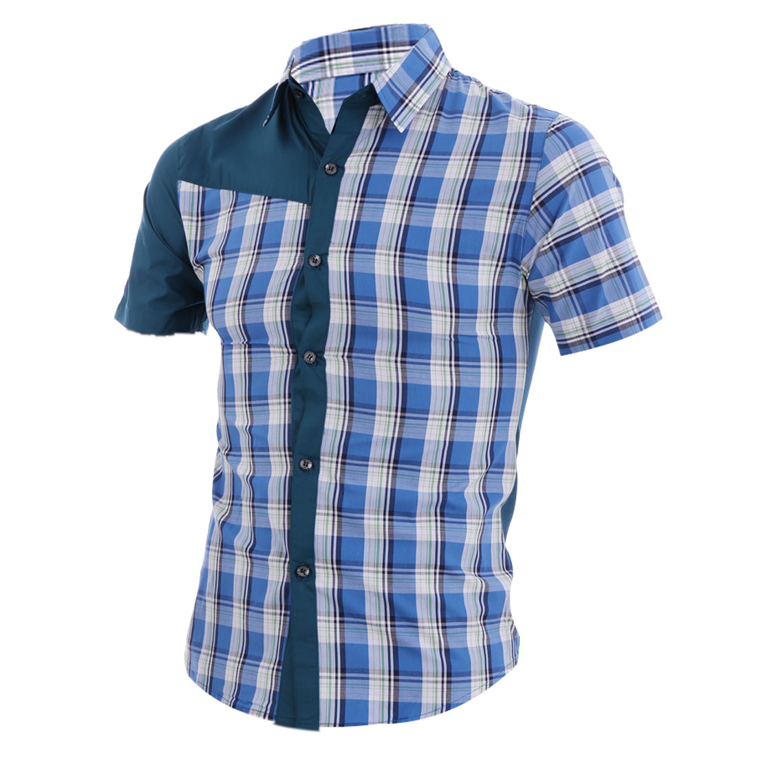 Blue S Stripes Pattern Button Front Color Block Design Men Casual Shirt