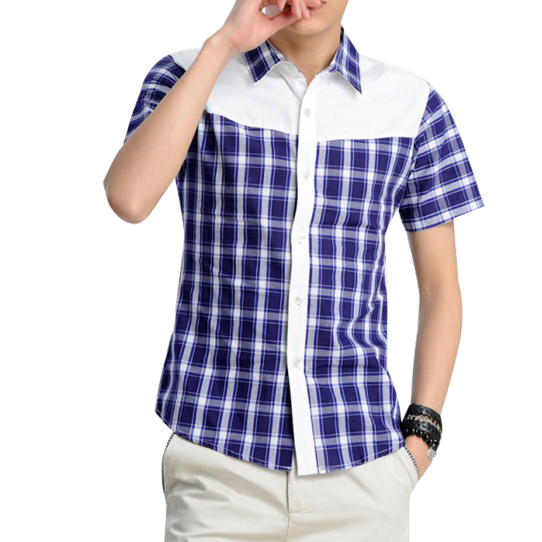 S Blue Plaids Pattern Color Block Single Breasted Design Men Casual Shirt