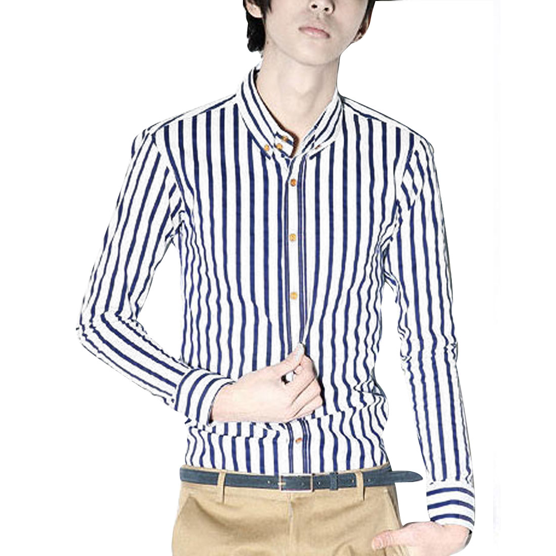 Mens Point Collar Long Sleeve Blue White Stripes Pattern Button Down Shirt S