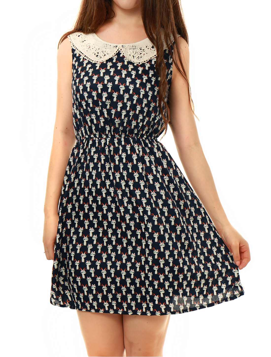 Women Stylish Doll Collar Cartoon Cats Printed Dark Blue Mini Dress M
