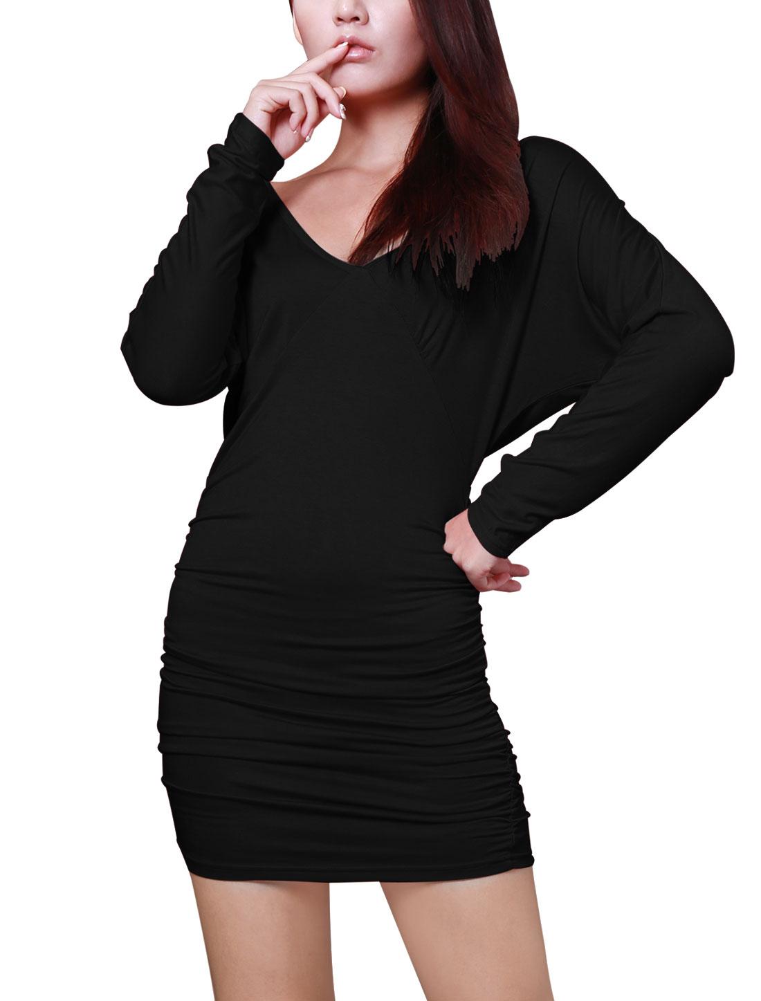Woman Stylish Deep V Neck Long Batwing Sleeve Black Mini Dress L