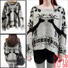 Women's Round Neck Batwing Sleeves Deer Patterns Stylish Gray Sweater M