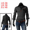 Mens Point Collar Long Sleeve Chest Pockets Design Dark Gray Polo Shirt M