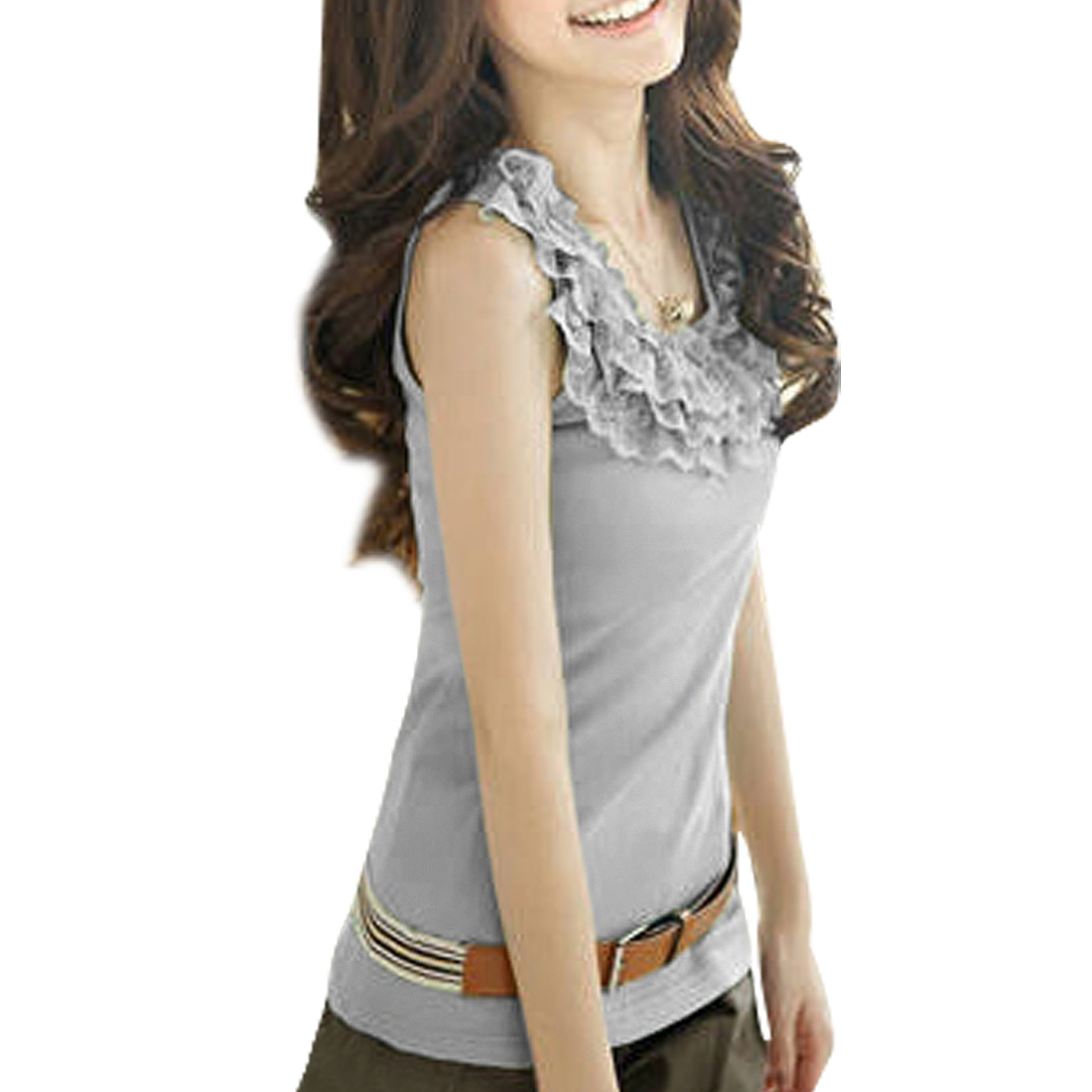 Sleeveless Close Fitting Tank Top Gray XS for Women