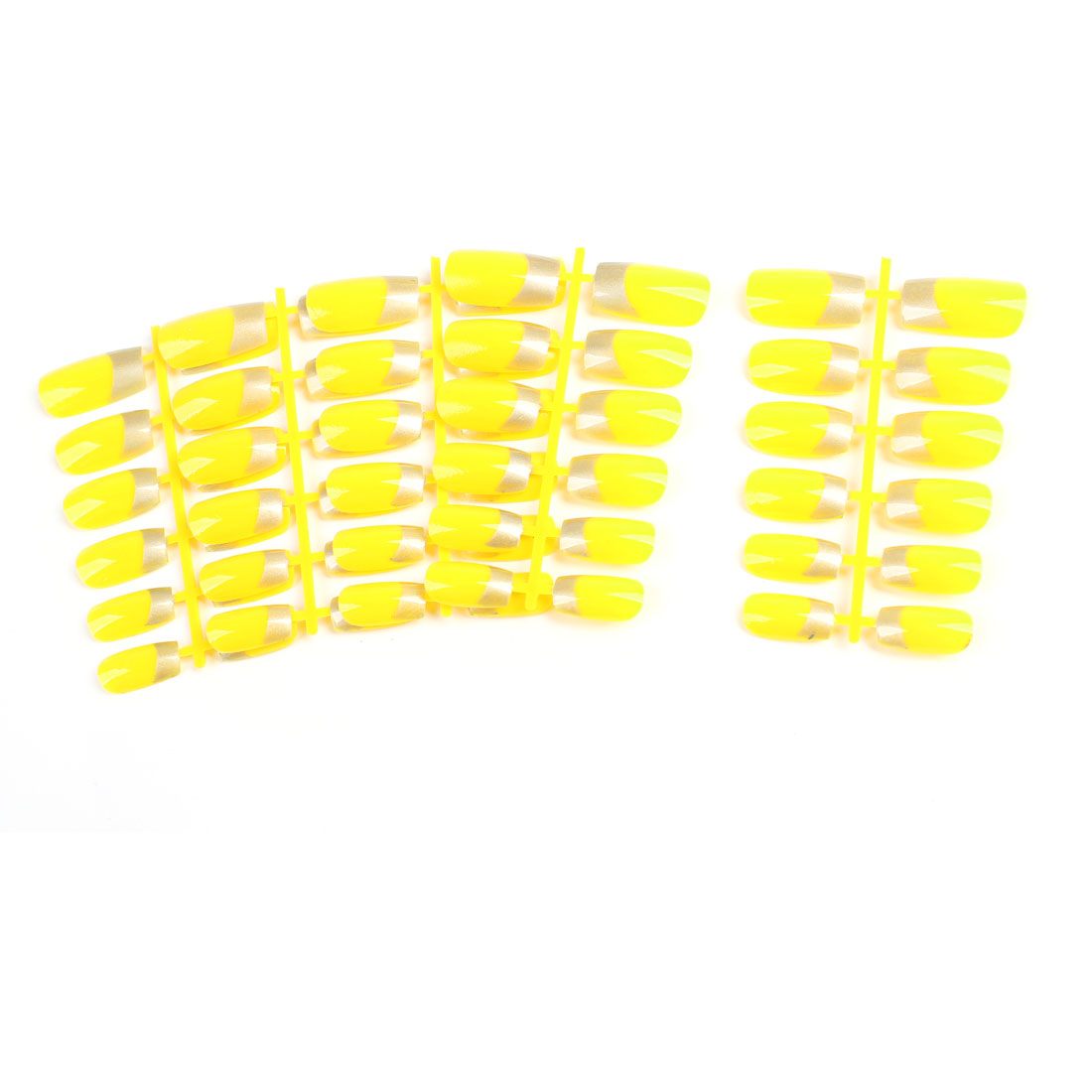 5 Pcs Yellow Silver Tone Artificial Fingernails for Lady