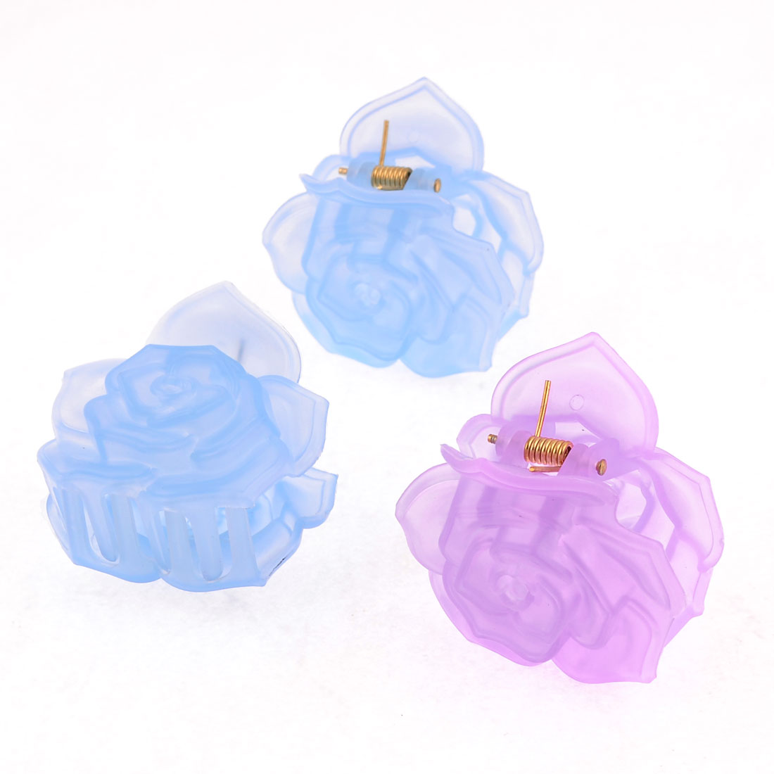 3 Pcs Blue Pink Plastic Lotus Shape Hair Claw Clip Clamp for Woman