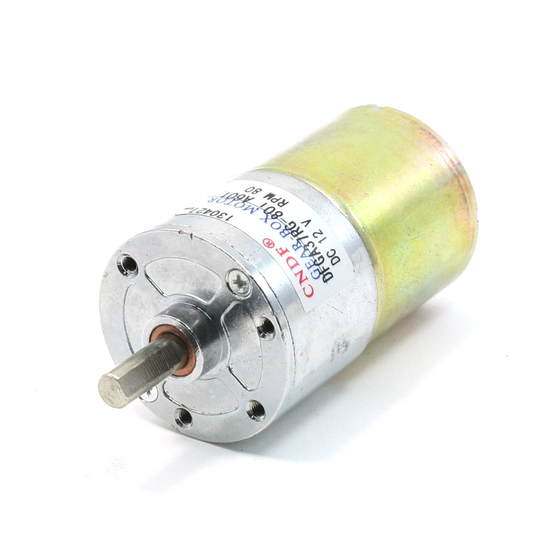 80RPM Speed 6mm Diameter Shaft 2 Terminals Geared Motor DC 12V