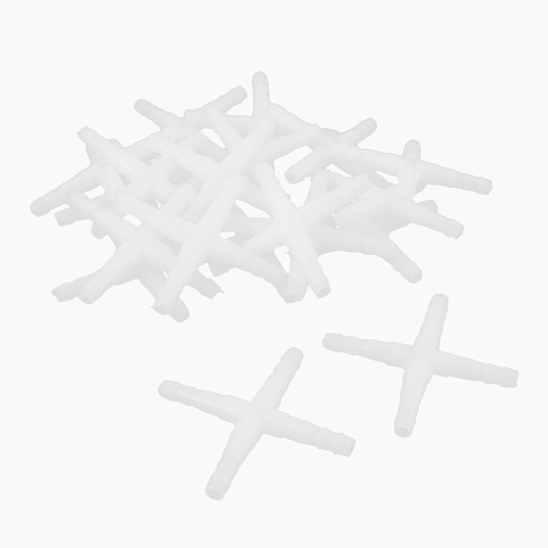 Aquarium White Plastic 4 Way Air Valve Line Connectors 20 Pcs