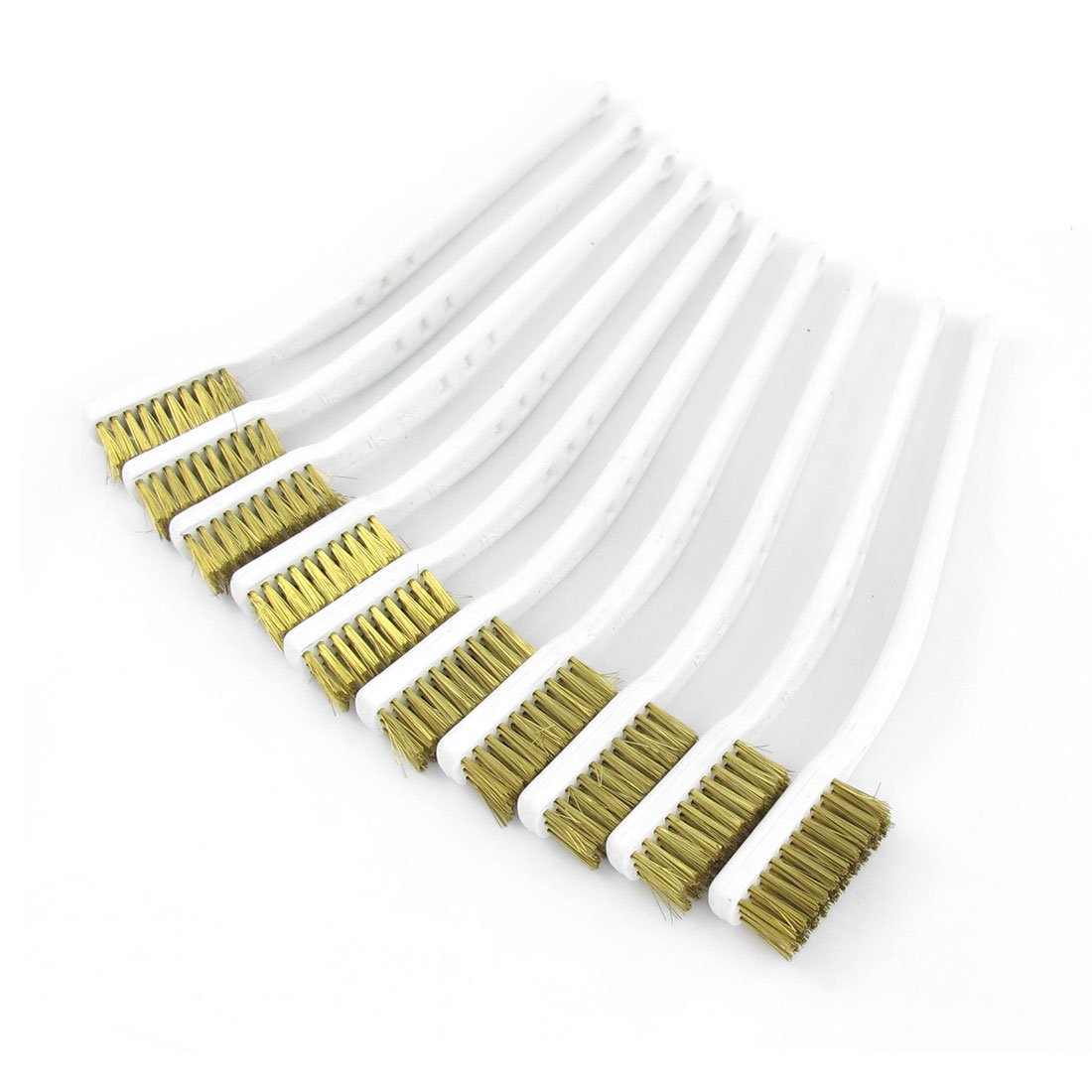 "10 Pcs 6.9"" Length White Plastic Handle Brass Bristle Wire Brush"