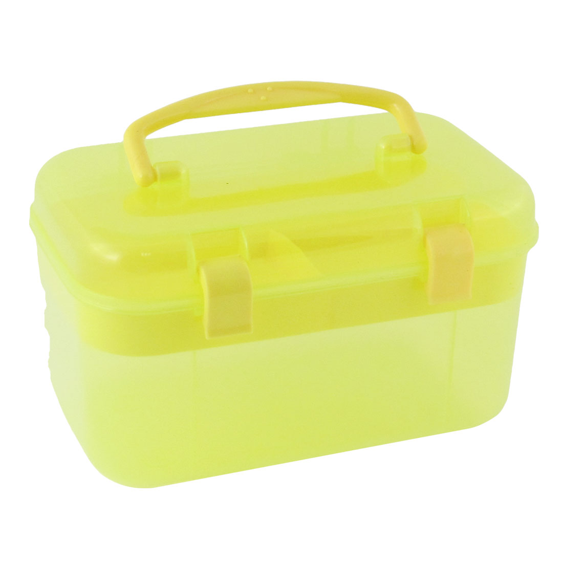 Dual Layers Cosmetic Components Container Storage Box Case Yellow w Handle