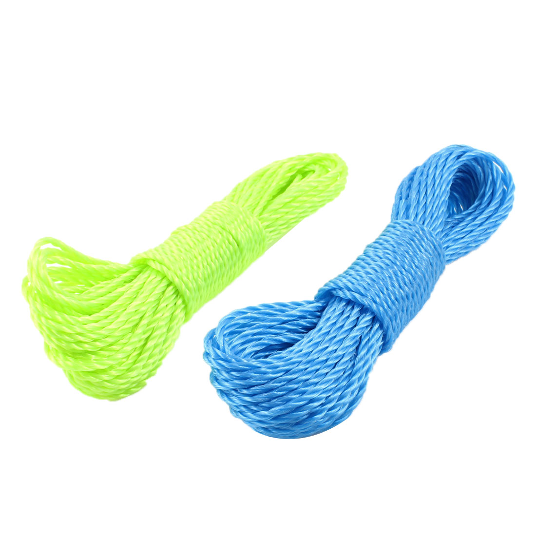 2 Pcs 49.2Ft Long Clothes Hanging Rope Nylon String Clothesline Blue Light Green