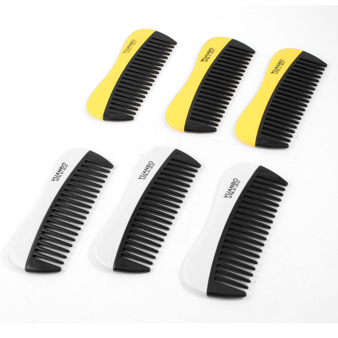 "Lady Hairdressing 20 Teeth Anti Static Plastic Hair Comb Yellow 4.6"" Long 6 Pcs"