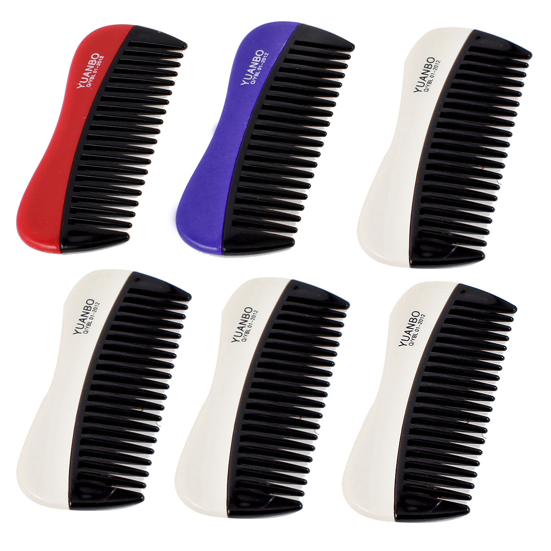 6 Pcs Barbershop Hairdressing 20 Teeth Tri Color Plastic Hair Comb