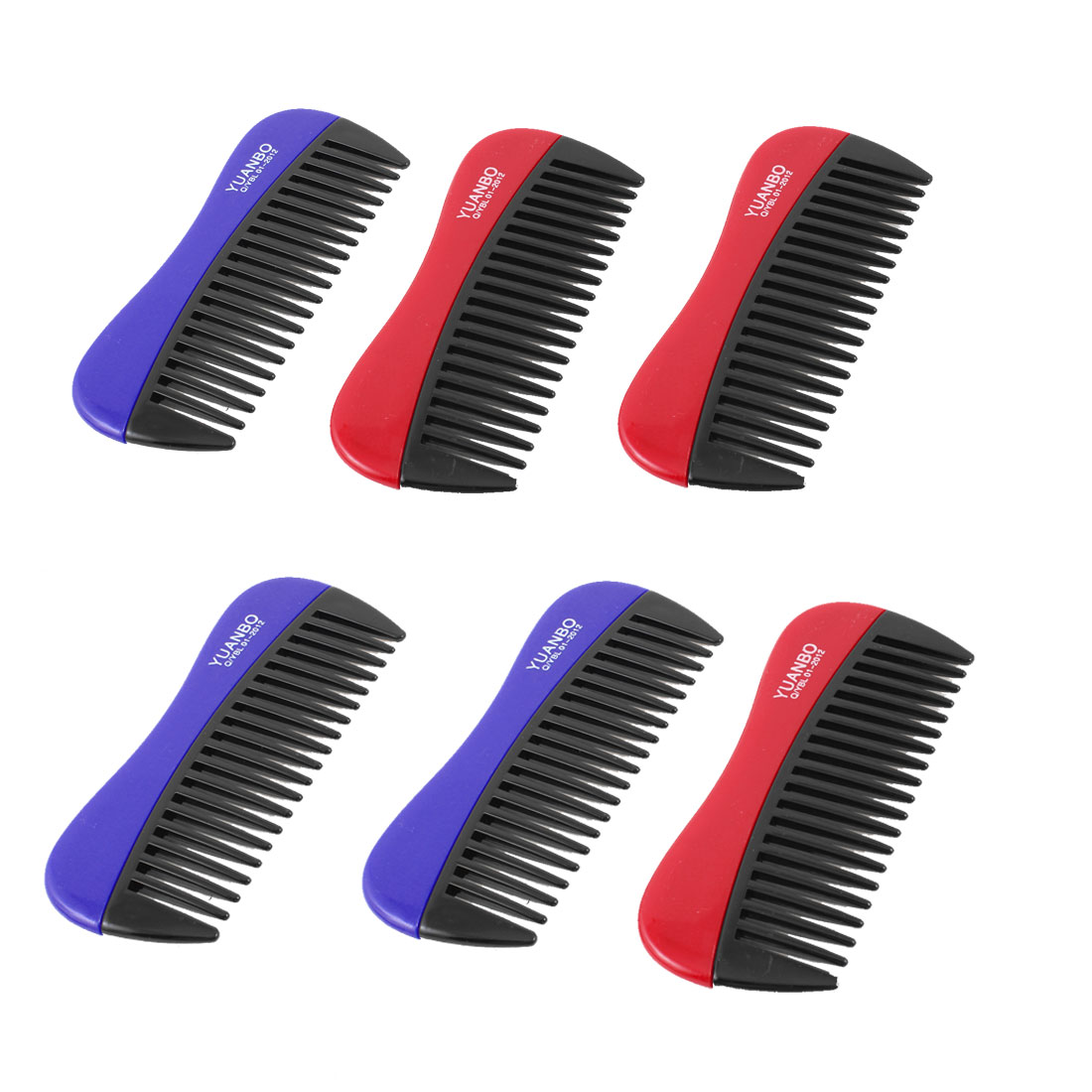 "Lady Hairdressing Anti Static Plastic Hair Comb Blue Red 4.6"" Long 6 Pcs"