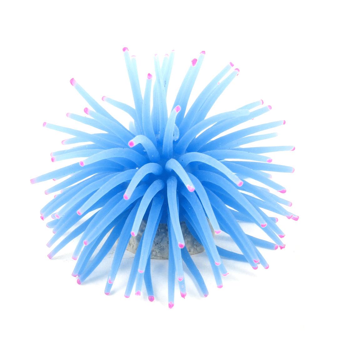 Aquarium Fish Tank Ornament Blue Silicone Mini Anemone Sea Coral