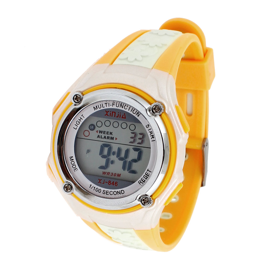 Soft Plastic Flower Pattern Adjustable Band Sports Digital Watch Yellow