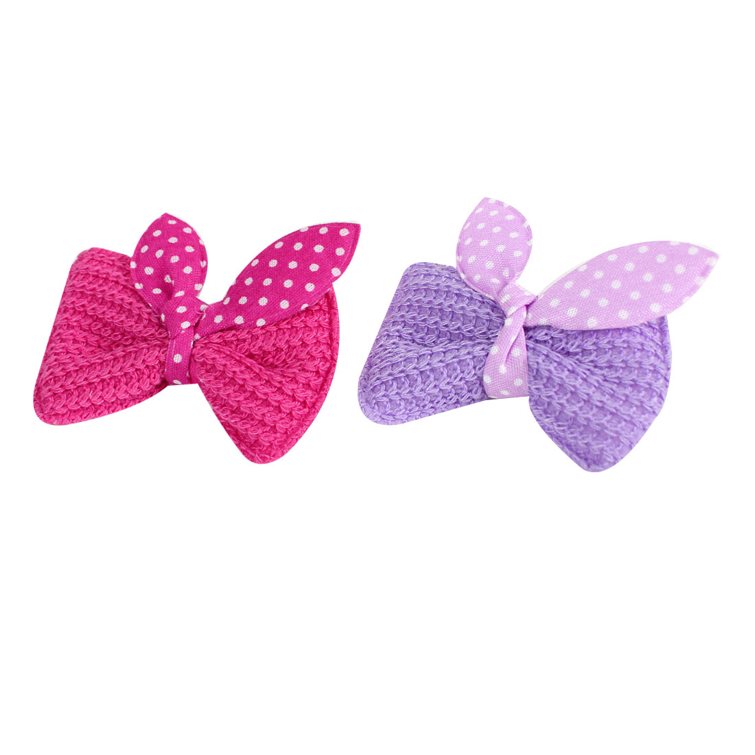 Kid Fuchsia Light Purple Dotted Bow Tie Single Prong Hair Clip Barrettes 2 Pcs