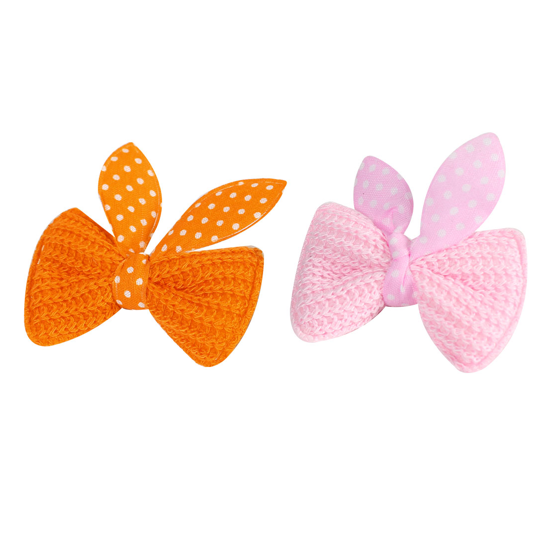 Child Light Pink Orange Dots Pattern Bowknot Alligator Hairclip Barrettes 2PCS