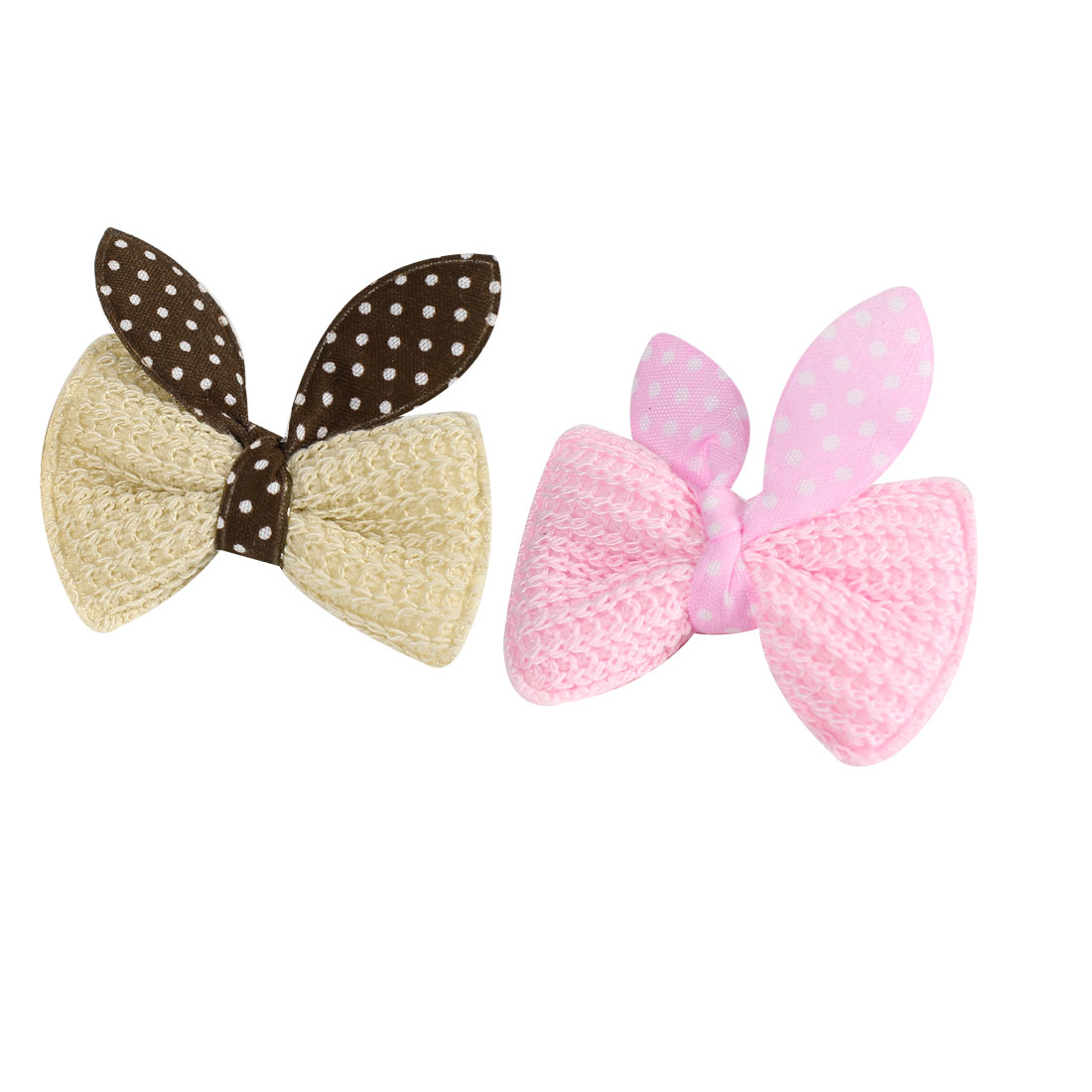 2 Pcs Light Pink Beige Bow Tie Mini Single Prong Hair Clip Barrettes for Kid