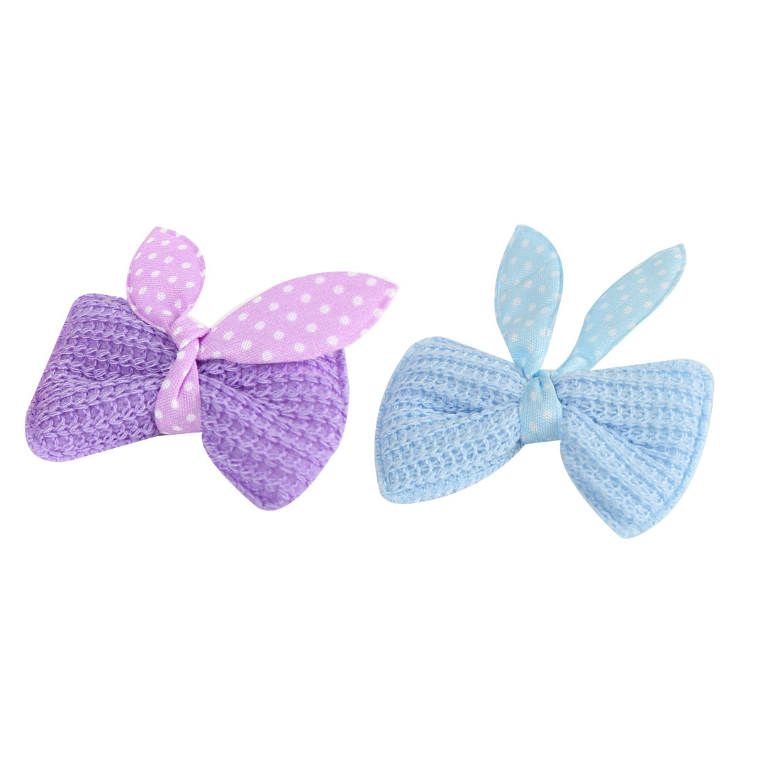 Child Light Blue Dotted Butterfly Knot Alligator Hairclip Barrettes 2 Pcs