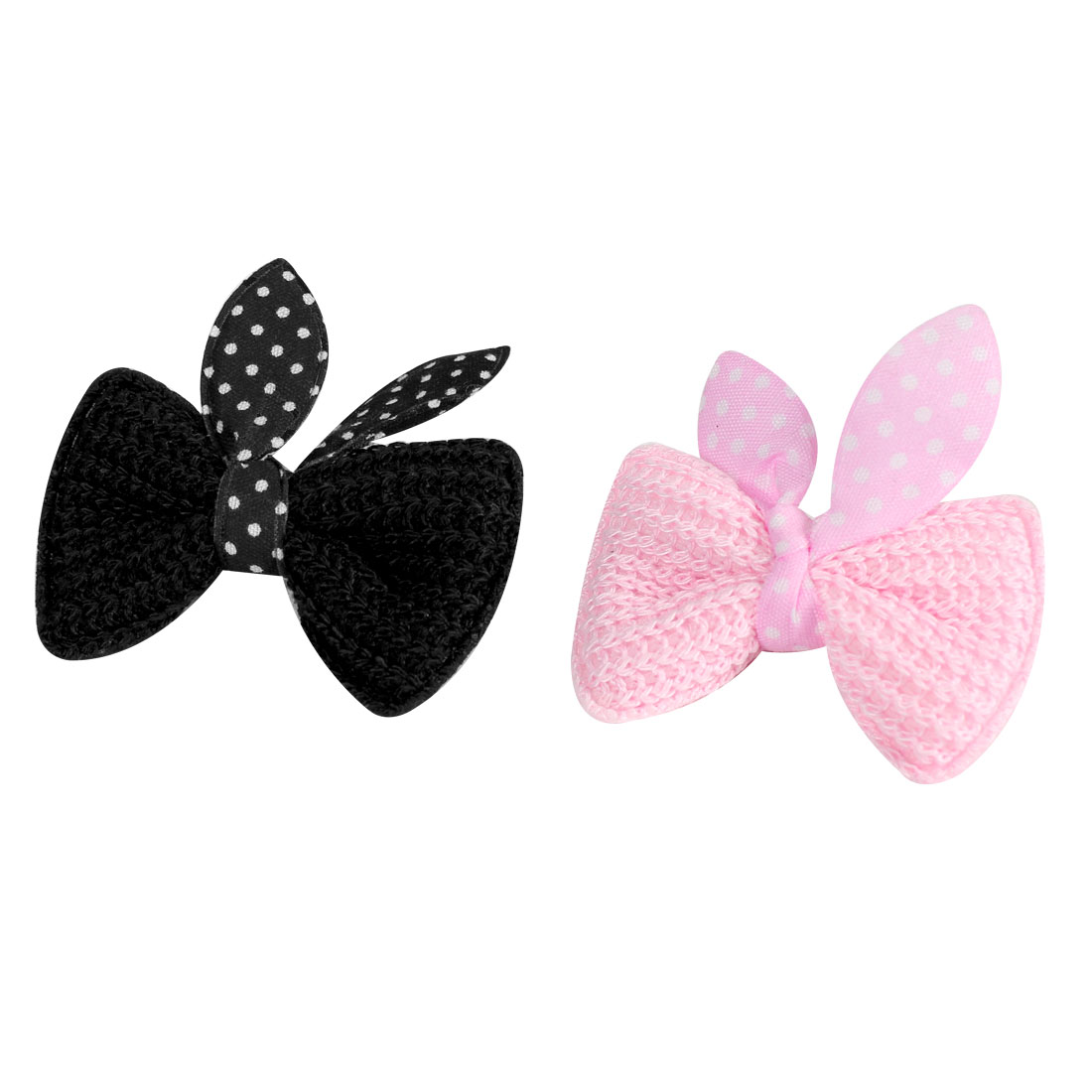 Childern White Black Dots Printed Bowknot Alligator Hair Clip Hairclips 2 Pcs