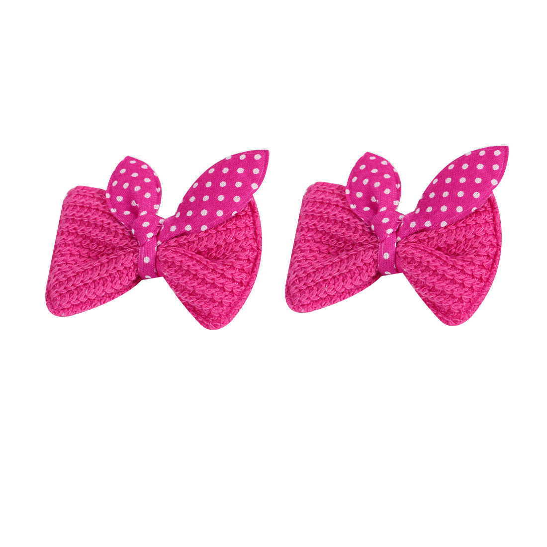 Childern Fuchsia White Dots Pattern Bowknot Alligator Hair Clip Hairclips 2PCS