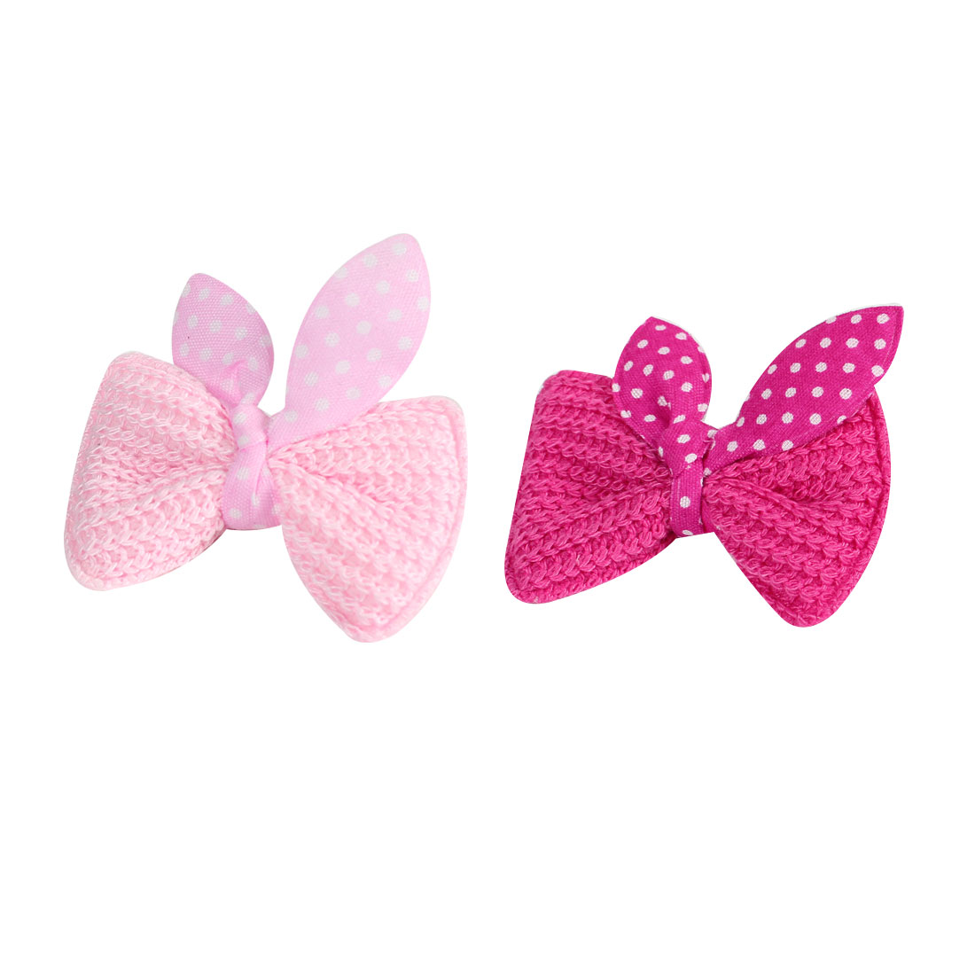 Child White Fuchsia Dotted Bow Tie Mini Single Prong Hair Clip Barrettes 2 Pcs