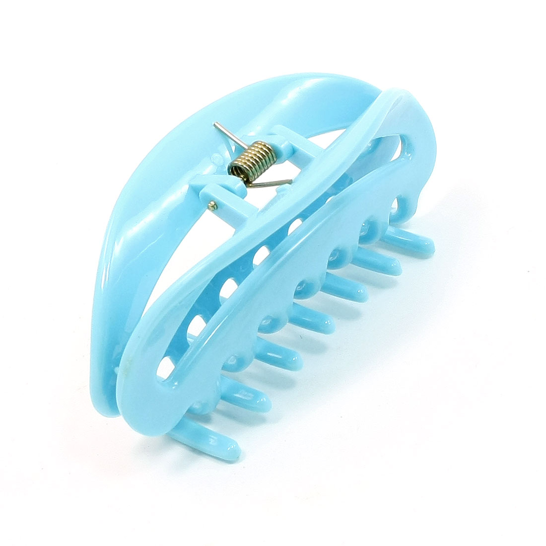 Blue Crescent Shaped 7 Row Teeth Hair Claw Clip for Lady