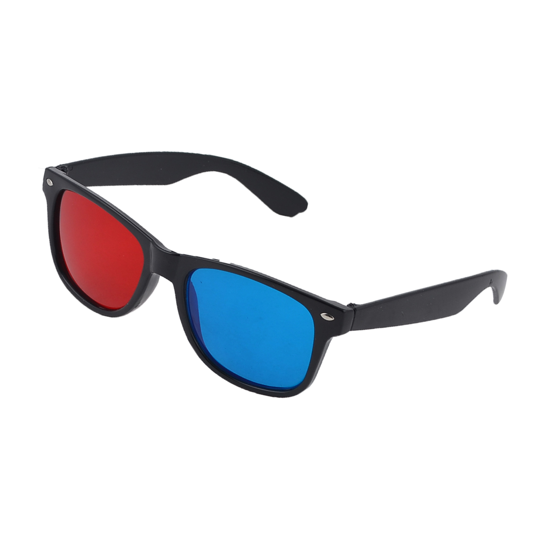 Black Plastic Frame Red Blue Lens 3D Dimensional Anaglyph Movie Film Glasses