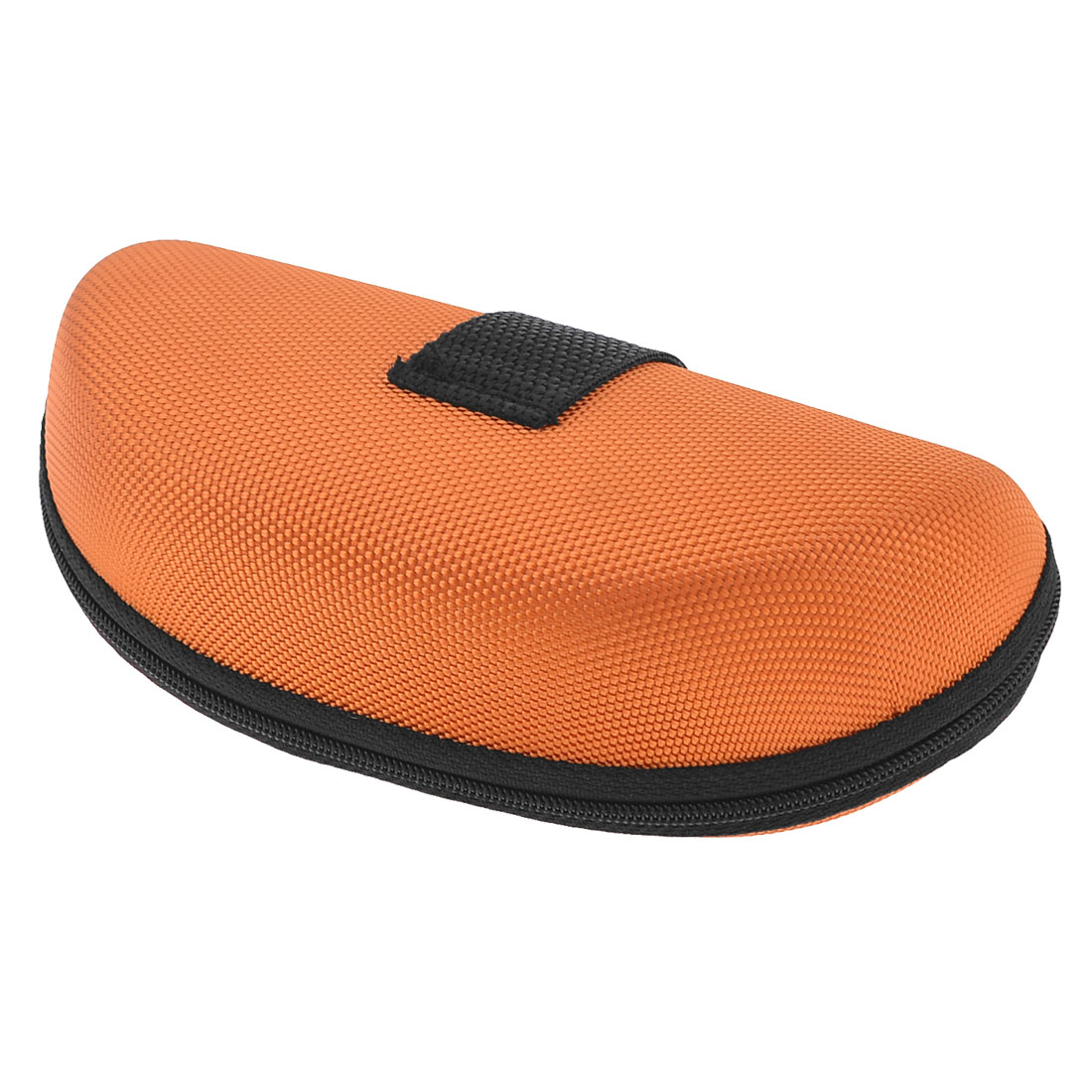 Orange Black Fleece Lining Oval Zippered Eyeglasses Case Holder Box