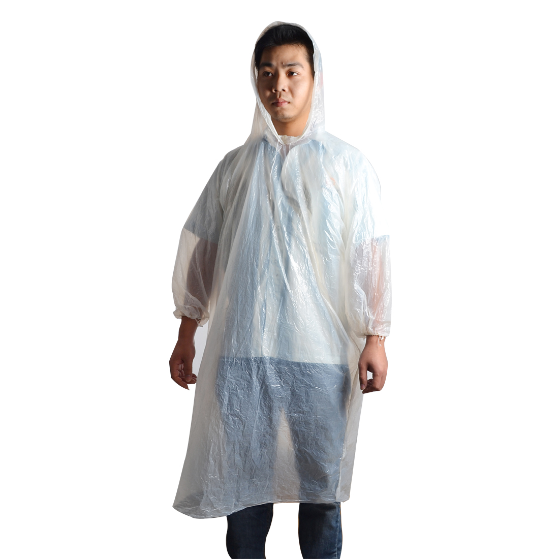 Woman Man Adult Clear White Disposable Rain Coat Hooded Poncho Raincoat