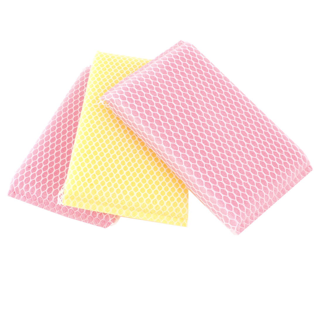 3 Pcs Kitchen Dish Bowl Pink Yellow Scouring Sponge Cleaning Pads