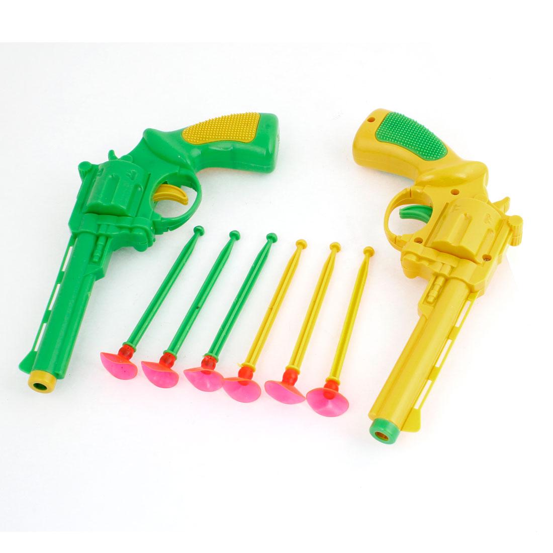 Child 2pcs Shooting Game Plastic Gun Toy w 6 Pcs Suction Cup Arrow