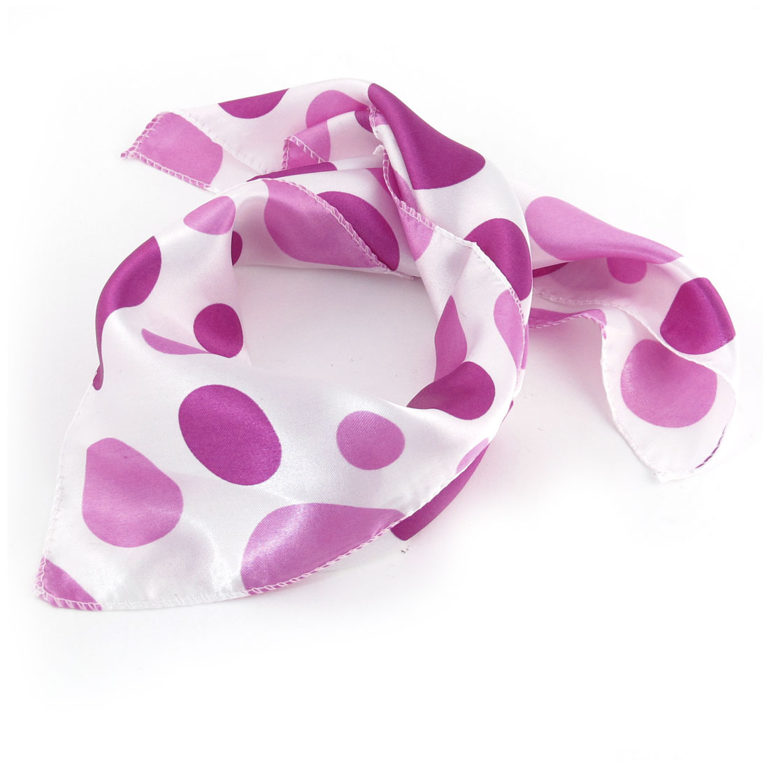 Women Fuchsia White Circle Printed Square Shaped Polyester Neck Scarf Kerchief