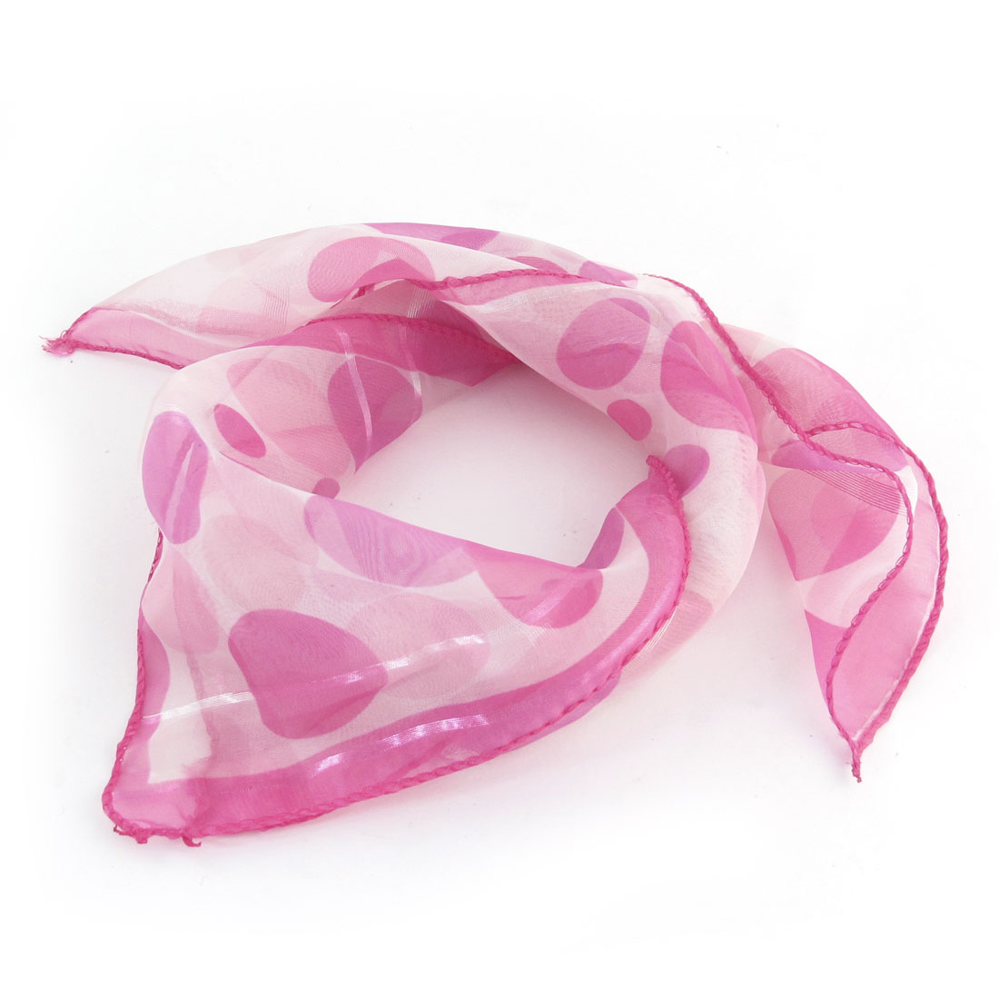 Fuchsia Circle Pattern Square Shape Chiffon Neckerchief Wrap Scarf for Women