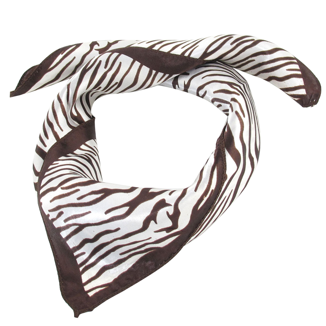 Coffee Color Zebra Print Square Shape Polyester Neck Scarf Wrap Kerchief
