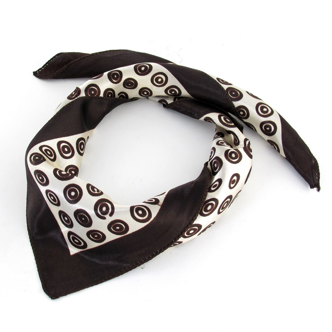 Chocolate Color Dual Cicle Pattern Square Shape Neck Scarf Wrap Kerchief