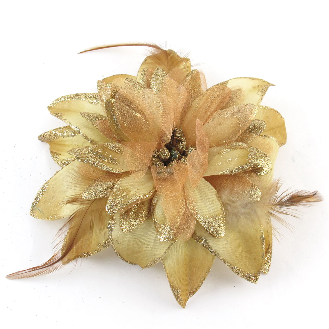Dark Yellow Flower Feather Detail Elastic Rubber Hair Hand Ponytail Holder Brooch