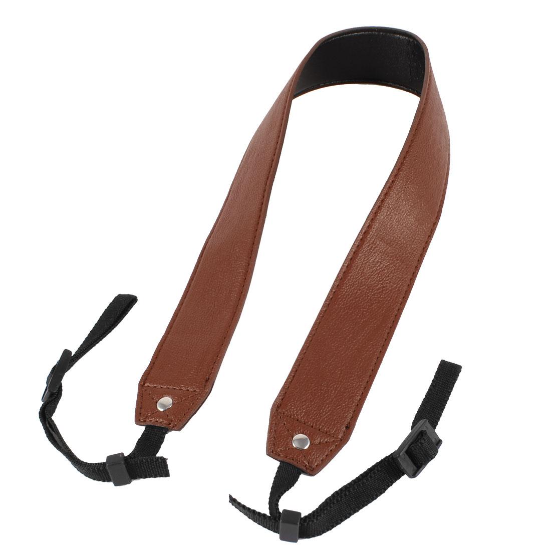 Brown Faux Leather Adjustable Neck Single Shoulder Strap for DSLR SLR Camera