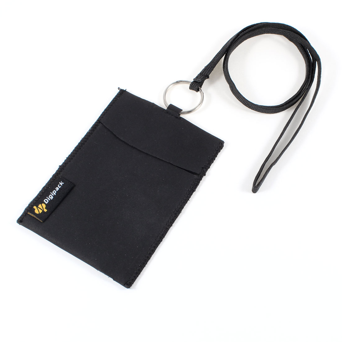 Black Faux Leather Pouch Bag Protective Case w Neck Strap for MP3