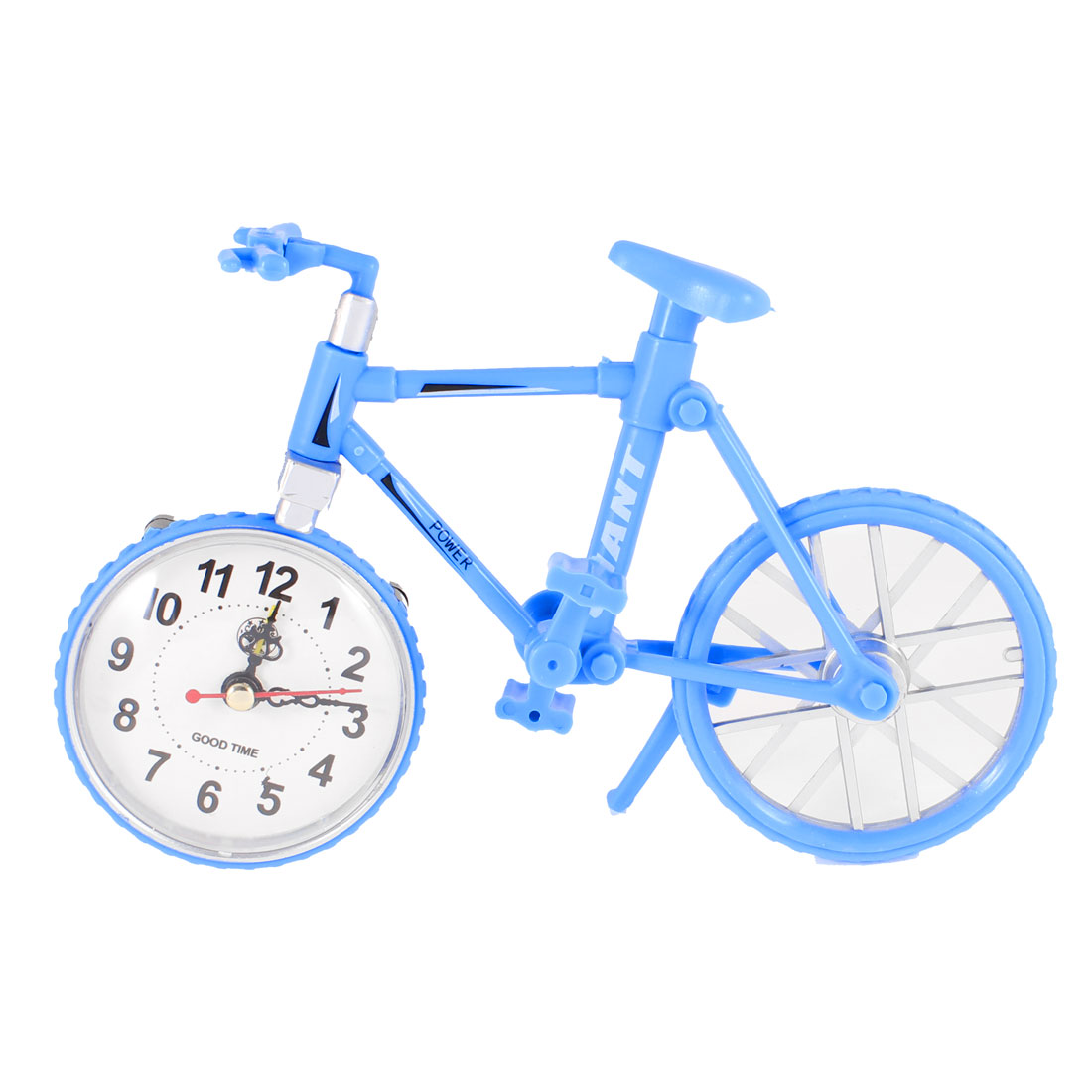 Plastic Bicycle Design Arambic Numbers Dial Desktop Alarm Clock Blue