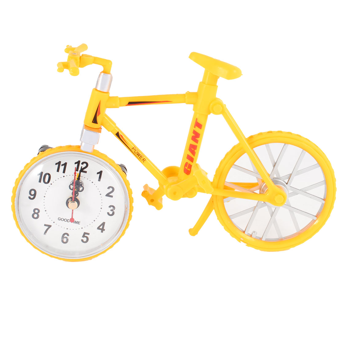 Yellow Plastic Bicycle Bike Design Battery Power Desktop Alarm Clock
